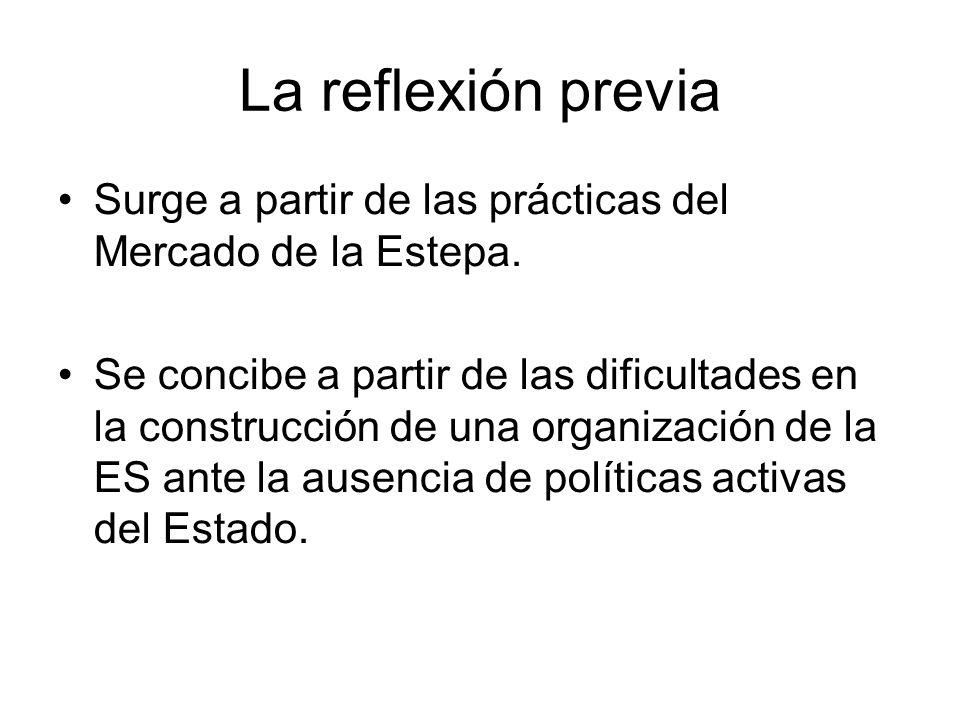 La reflexión previa Surge a partir de las prácticas del Mercado de la Estepa. Se concibe a partir de las dificultades en la construcción de una organi