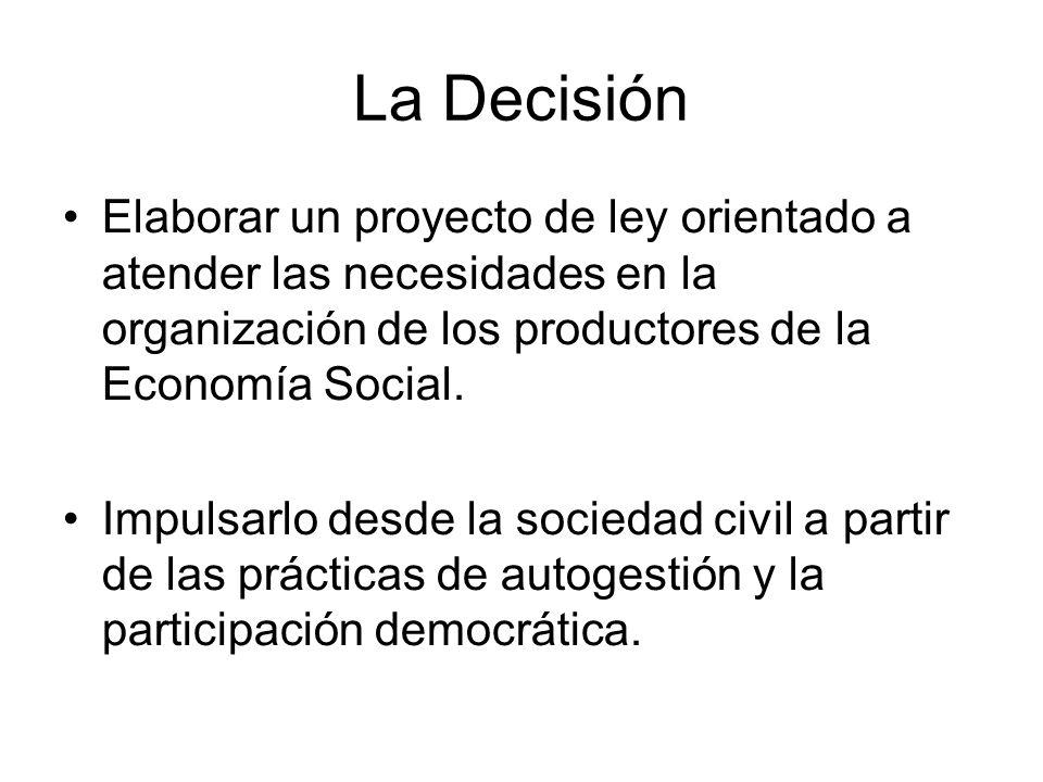 La Decisión Elaborar un proyecto de ley orientado a atender las necesidades en la organización de los productores de la Economía Social. Impulsarlo de