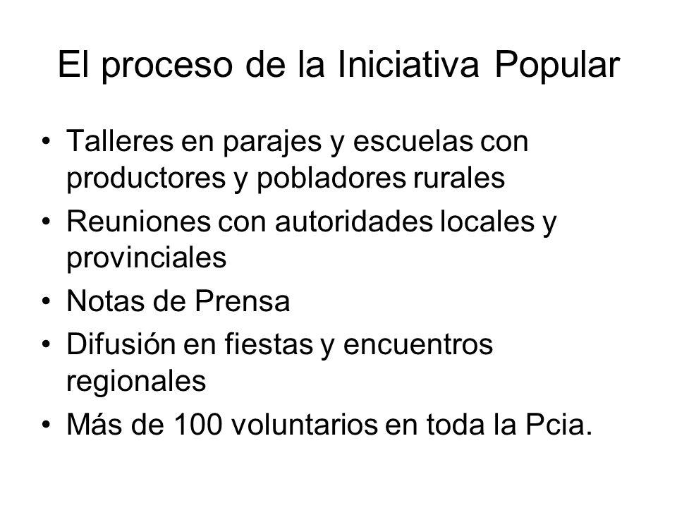 El proceso de la Iniciativa Popular Talleres en parajes y escuelas con productores y pobladores rurales Reuniones con autoridades locales y provincial