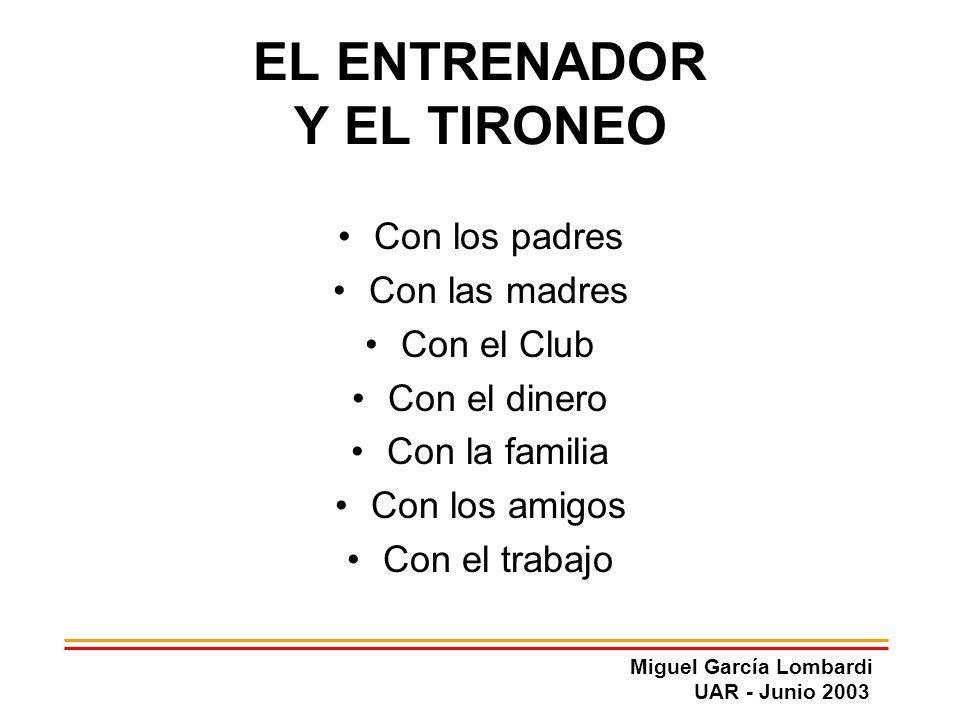 Miguel García Lombardi UAR - Junio 2003 EL ENTRENADOR Y EL TIRONEO Con los padres Con las madres Con el Club Con el dinero Con la familia Con los amig