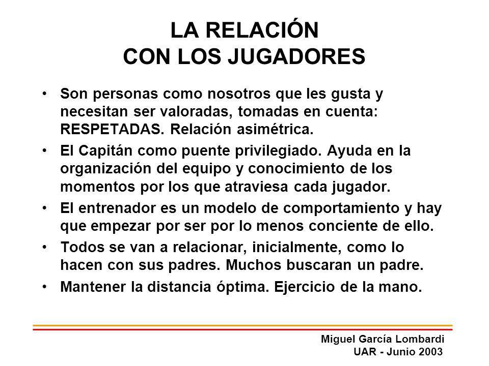 Miguel García Lombardi UAR - Junio 2003 LA RELACIÓN CON LOS JUGADORES Son personas como nosotros que les gusta y necesitan ser valoradas, tomadas en c