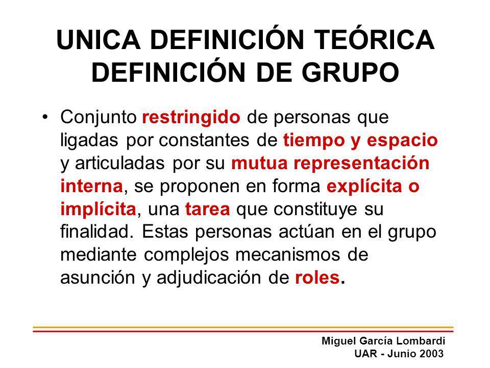 Miguel García Lombardi UAR - Junio 2003 UNICA DEFINICIÓN TEÓRICA DEFINICIÓN DE GRUPO Conjunto restringido de personas que ligadas por constantes de ti