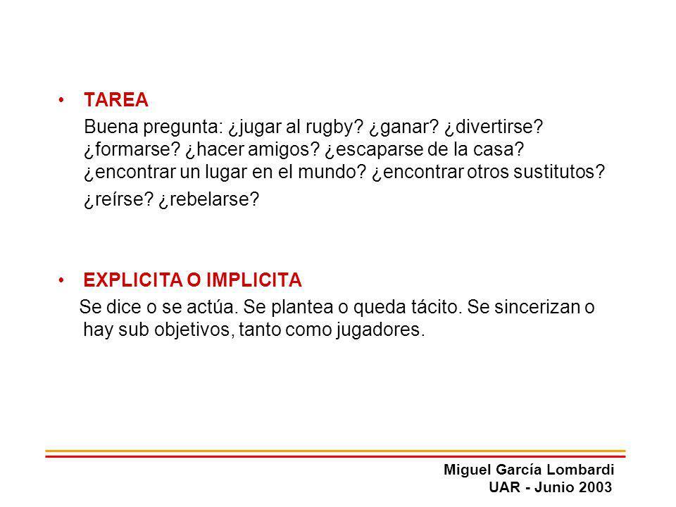 Miguel García Lombardi UAR - Junio 2003 TAREA Buena pregunta: ¿jugar al rugby? ¿ganar? ¿divertirse? ¿formarse? ¿hacer amigos? ¿escaparse de la casa? ¿