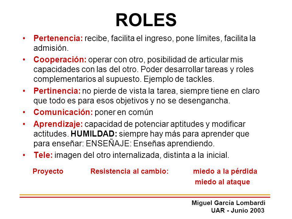 Miguel García Lombardi UAR - Junio 2003 ROLES Pertenencia: recibe, facilita el ingreso, pone límites, facilita la admisión. Cooperación: operar con ot