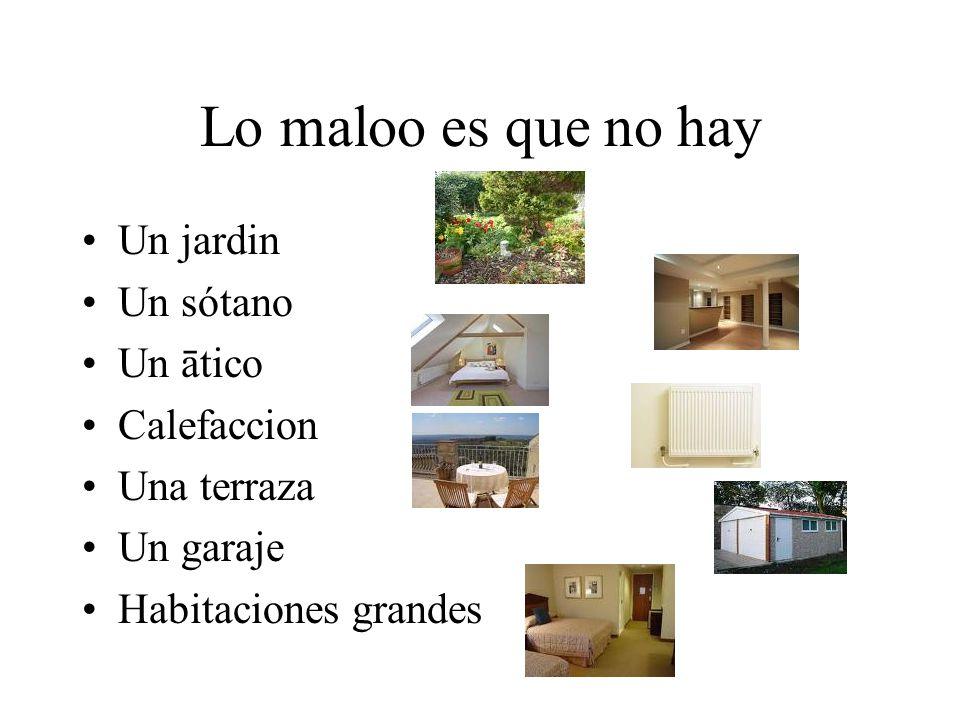 Lo maloo es que no hay Un jardin Un sótano Un ātico Calefaccion Una terraza Un garaje Habitaciones grandes