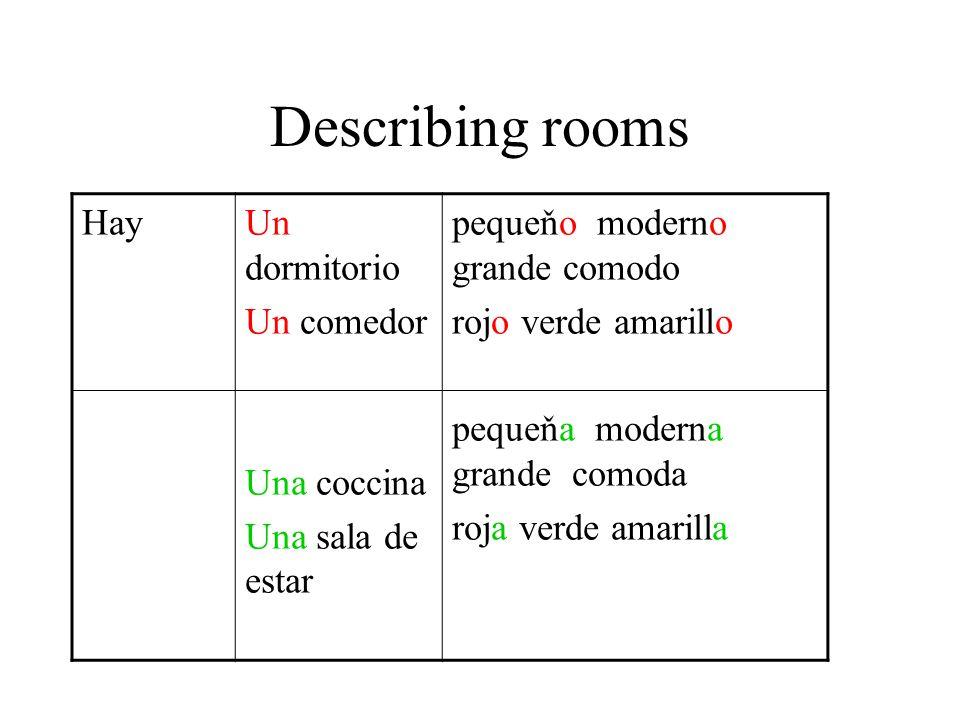 Describing rooms HayUn dormitorio Un comedor Una coccina Una sala de estar pequeňo moderno grande comodo rojo verde amarillo pequeňa moderna grande co
