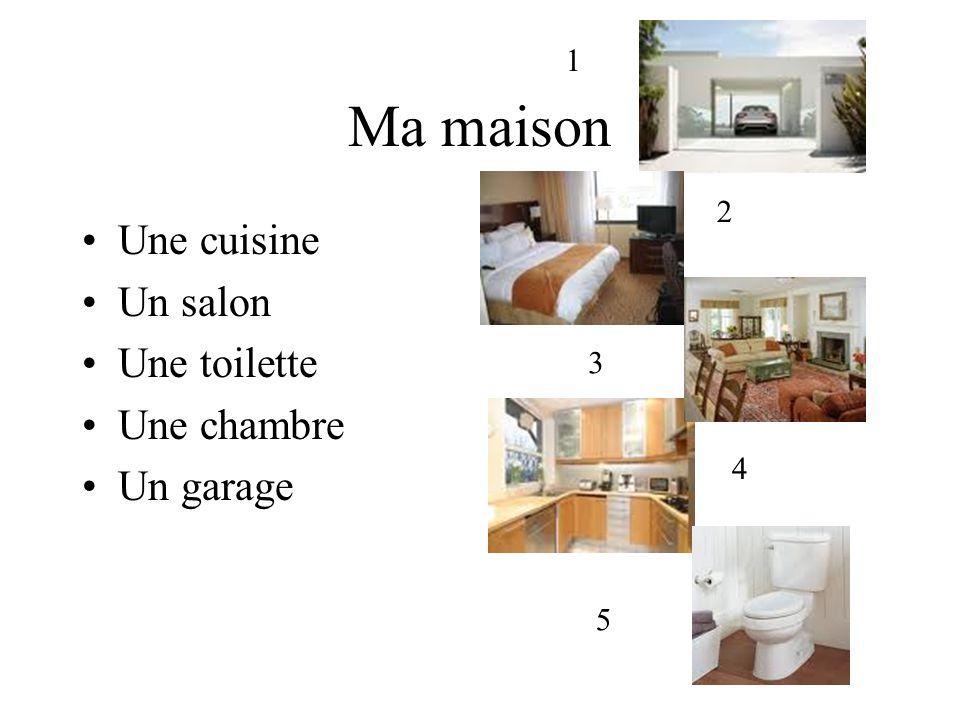 Ma maison Une cuisine Un salon Une toilette Une chambre Un garage 1 2 3 4 5