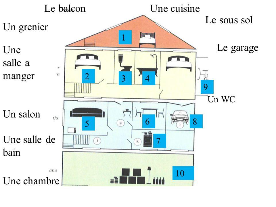 Le garage Le balcon Une chambre Le sous sol Une cuisine Un WC Un grenier Une salle de bain Une salle a manger Un salon 1 2 34 5 6 7 8 9 10