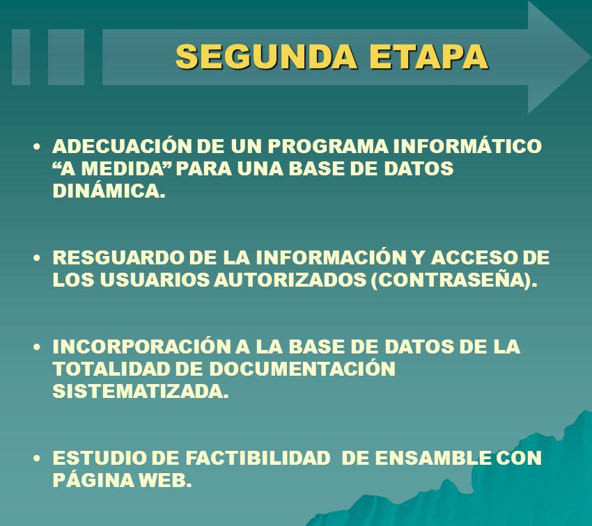 ADECUACIÓN DE UN PROGRAMA INFORMÁTICO A MEDIDA PARA UNA BASE DE DATOS DINÁMICA. RESGUARDO DE LA INFORMACIÓN Y ACCESO DE LOS USUARIOS AUTORIZADOS (CONT