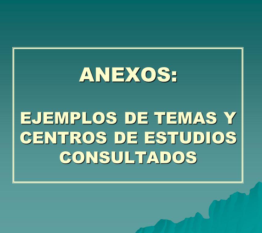 ANEXOS: EJEMPLOS DE TEMAS Y CENTROS DE ESTUDIOS CONSULTADOS