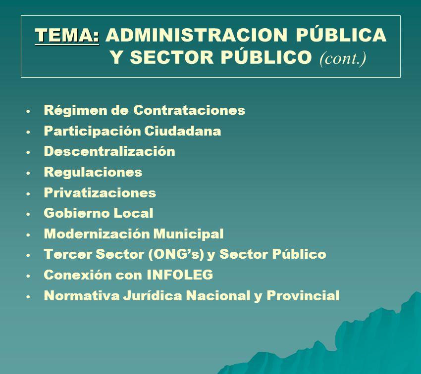 Régimen de Contrataciones Participación Ciudadana Descentralización Regulaciones Privatizaciones Gobierno Local Modernización Municipal Tercer Sector