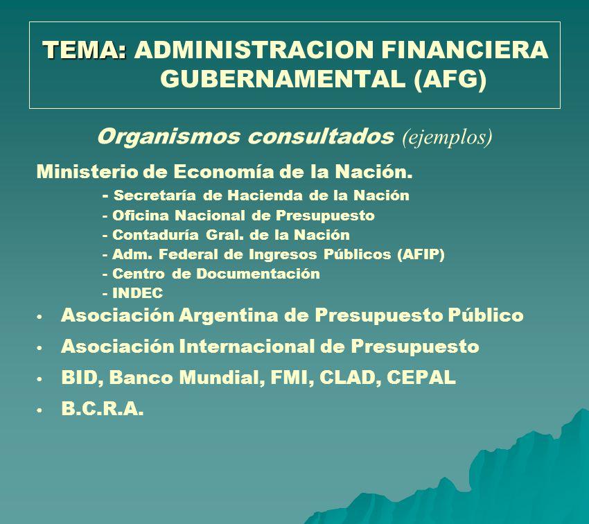 TEMA: TEMA: ADMINISTRACION FINANCIERA GUBERNAMENTAL (AFG) Organismos consultados (ejemplos) Ministerio de Economía de la Nación. - Secretaría de Hacie