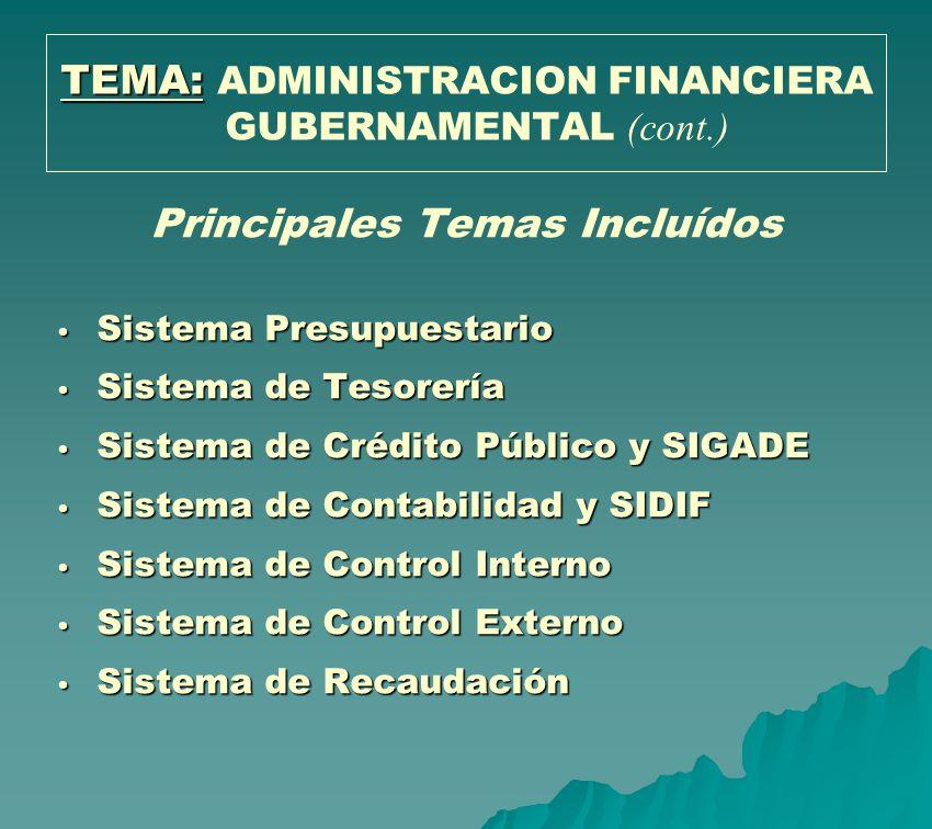 TEMA: TEMA: ADMINISTRACION FINANCIERA GUBERNAMENTAL (cont.) Principales Temas Incluídos Sistema Presupuestario Sistema Presupuestario Sistema de Tesor