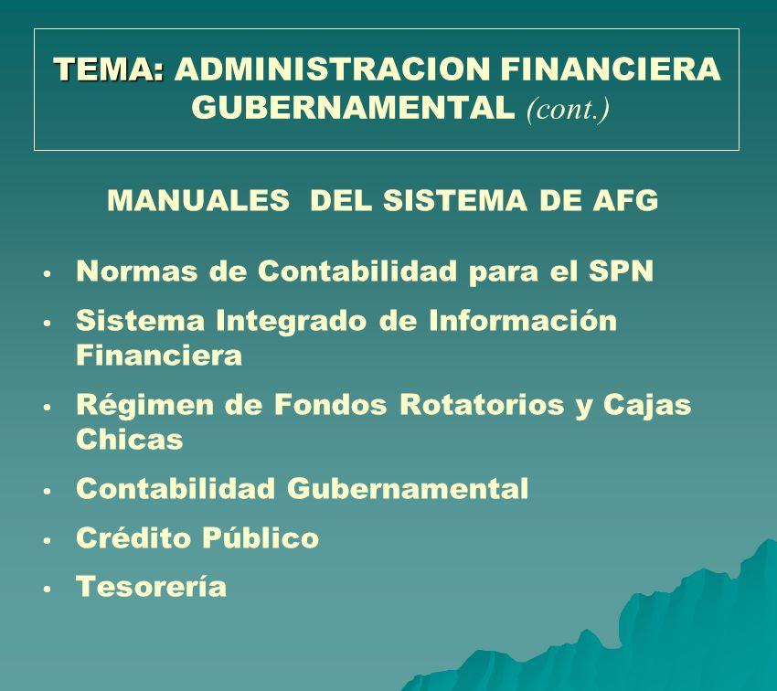 MANUALES DEL SISTEMA DE AFG Normas de Contabilidad para el SPN Sistema Integrado de Información Financiera Régimen de Fondos Rotatorios y Cajas Chicas