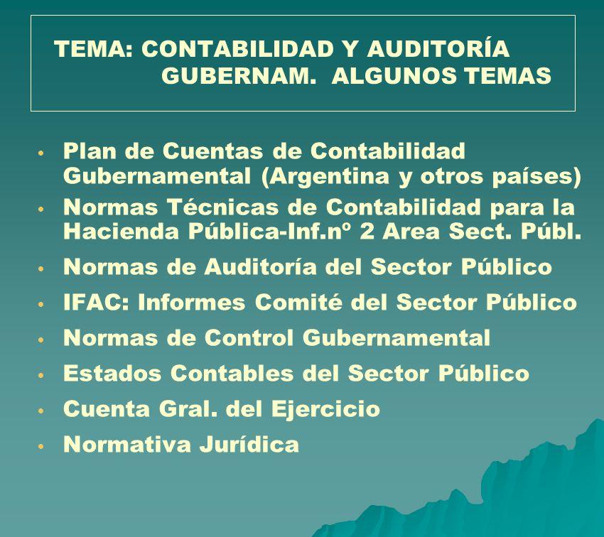 Plan de Cuentas de Contabilidad Gubernamental (Argentina y otros países) Normas Técnicas de Contabilidad para la Hacienda Pública-Inf.nº 2 Area Sect.