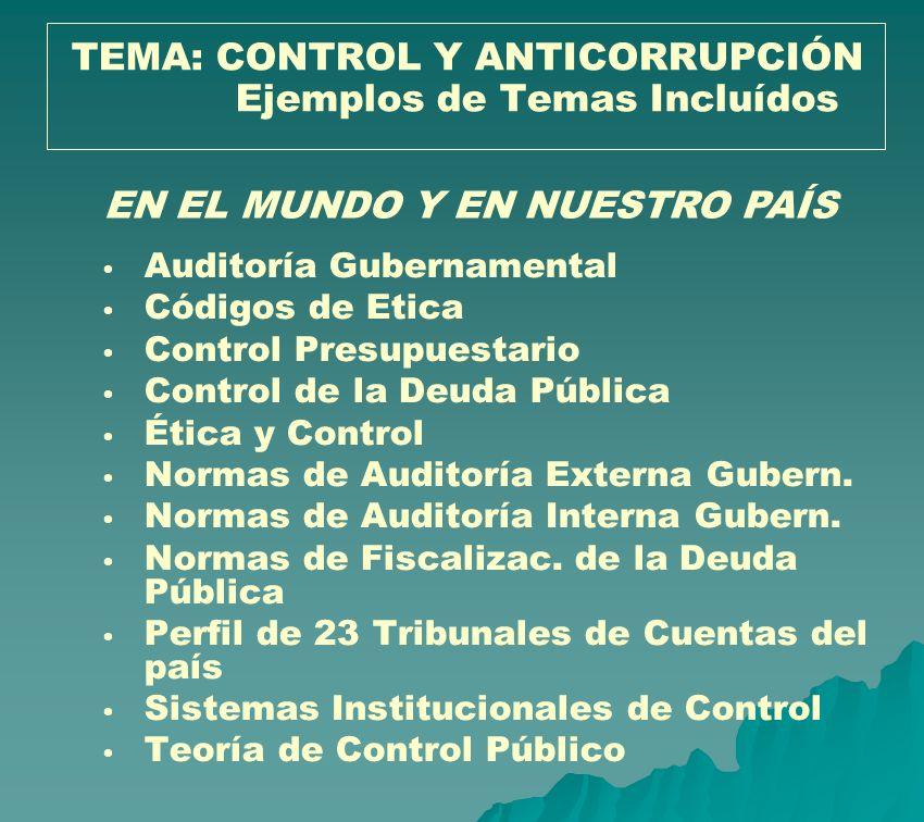 Auditoría Gubernamental Códigos de Etica Control Presupuestario Control de la Deuda Pública Ética y Control Normas de Auditoría Externa Gubern. Normas
