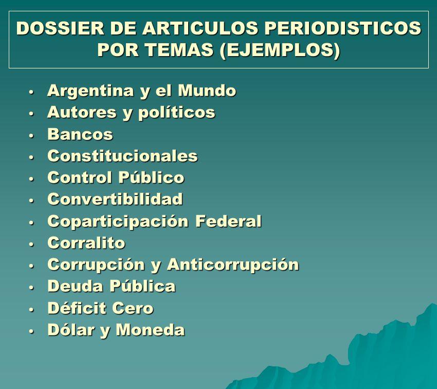DOSSIER DE ARTICULOS PERIODISTICOS POR TEMAS (EJEMPLOS) Argentina y el Mundo Argentina y el Mundo Autores y políticos Autores y políticos Bancos Banco