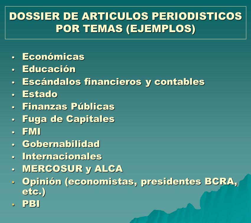 DOSSIER DE ARTICULOS PERIODISTICOS POR TEMAS (EJEMPLOS) Económicas Económicas Educación Educación Escándalos financieros y contables Escándalos financ
