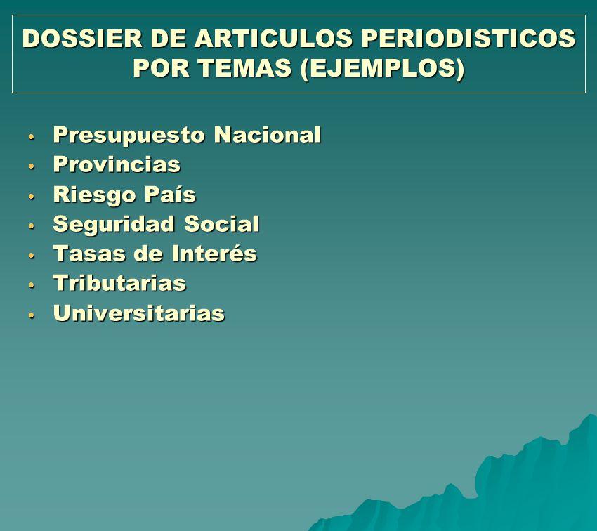 DOSSIER DE ARTICULOS PERIODISTICOS POR TEMAS (EJEMPLOS) Presupuesto Nacional Presupuesto Nacional Provincias Provincias Riesgo País Riesgo País Seguri