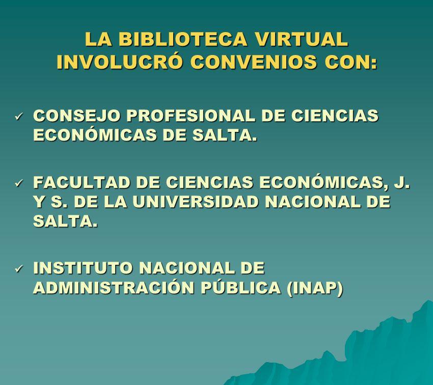 LA BIBLIOTECA VIRTUAL INVOLUCRÓ CONVENIOS CON: CONSEJO PROFESIONAL DE CIENCIAS ECONÓMICAS DE SALTA. CONSEJO PROFESIONAL DE CIENCIAS ECONÓMICAS DE SALT