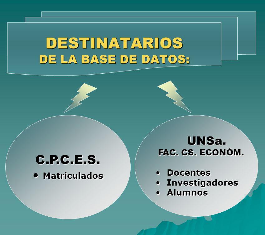 DESTINATARIOS DE LA BASE DE DATOS: C.P.C.E.S. Matriculados Matriculados UNSa. UNSa. FAC. CS. ECONÓM. FAC. CS. ECONÓM. DocentesDocentes InvestigadoresI