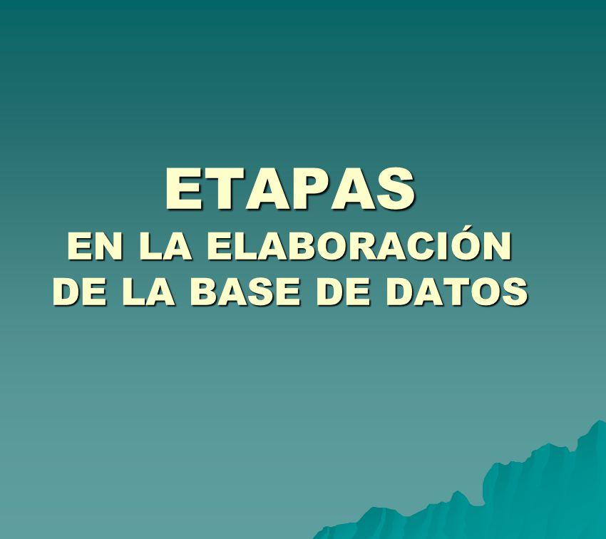 ETAPAS EN LA ELABORACIÓN DE LA BASE DE DATOS