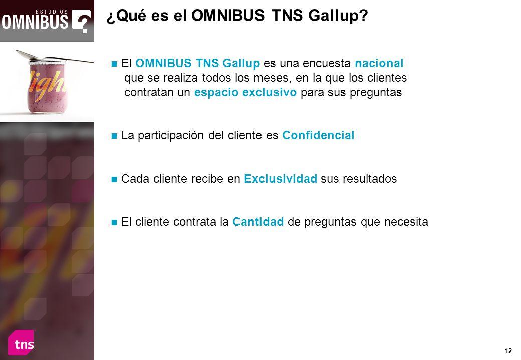 12 ¿Qué es el OMNIBUS TNS Gallup? El OMNIBUS TNS Gallup es una encuesta nacional que se realiza todos los meses, en la que los clientes contratan un e