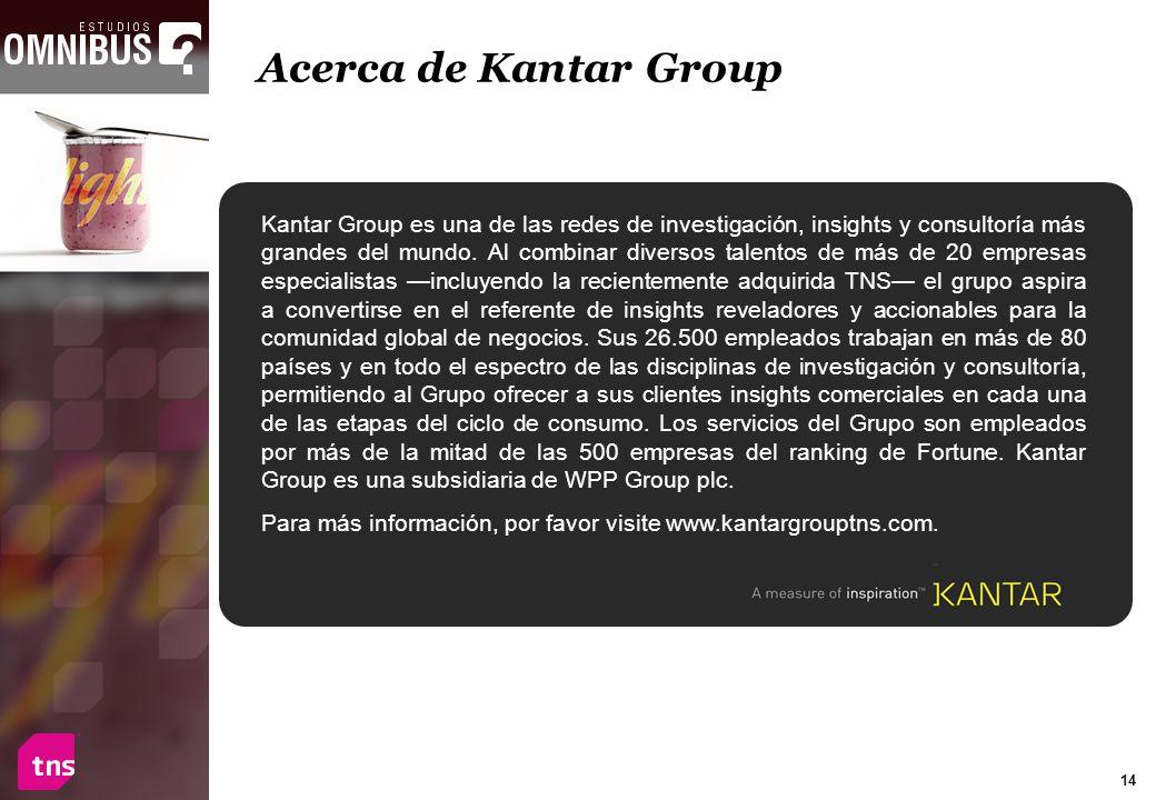 14 Acerca de Kantar Group Kantar Group es una de las redes de investigación, insights y consultoría más grandes del mundo. Al combinar diversos talent