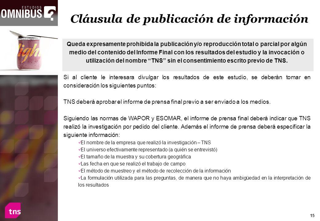 15 Queda expresamente prohibida la publicación y/o reproducción total o parcial por algún medio del contenido del Informe Final con los resultados del