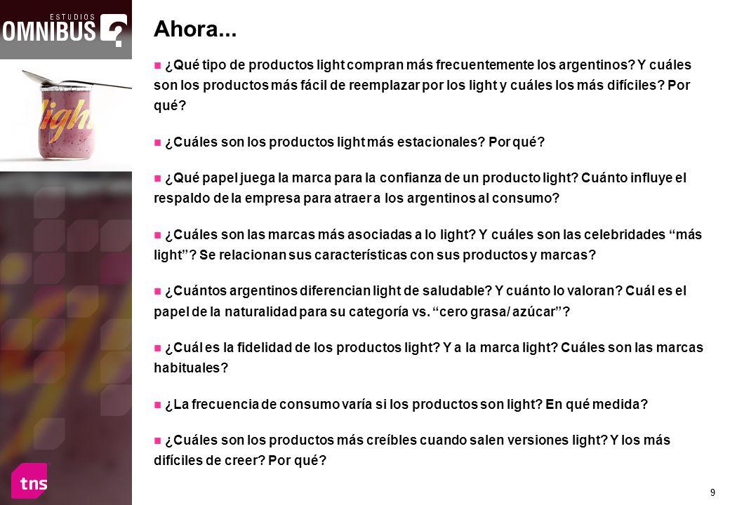 9 ¿Qué tipo de productos light compran más frecuentemente los argentinos? Y cuáles son los productos más fácil de reemplazar por los light y cuáles lo