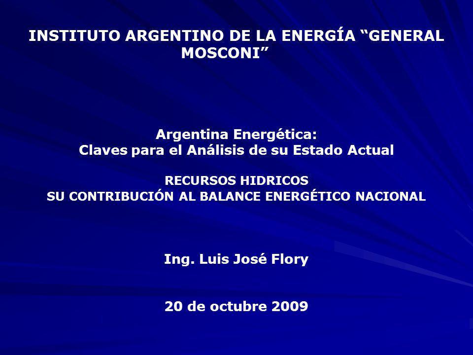 INSTITUTO ARGENTINO DE LA ENERGÍA GENERAL MOSCONI Argentina Energética: Claves para el Análisis de su Estado Actual RECURSOS HIDRICOS SU CONTRIBUCIÓN AL BALANCE ENERGÉTICO NACIONAL Ing.