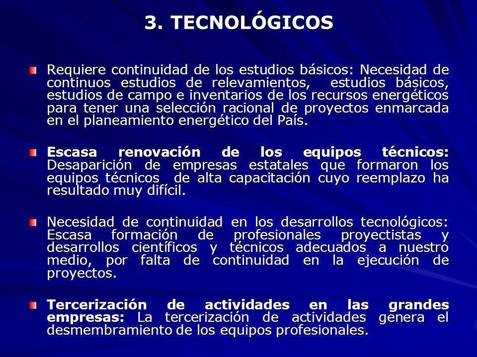 3. TECNOLÓGICOS Requiere continuidad de los estudios básicos: Necesidad de continuos estudios de relevamientos, estudios básicos, estudios de campo e
