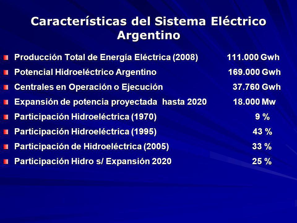Características del Sistema Eléctrico Argentino Producción Total de Energía Eléctrica (2008) 111.000 Gwh Potencial Hidroeléctrico Argentino 169.000 Gwh Centrales en Operación o Ejecución 37.760 Gwh Expansión de potencia proyectada hasta 2020 18.000 Mw Participación Hidroeléctrica (1970) 9 % Participación Hidroeléctrica (1995) 43 % Participación de Hidroeléctrica (2005) 33 % Participación Hidro s/ Expansión 2020 25 %