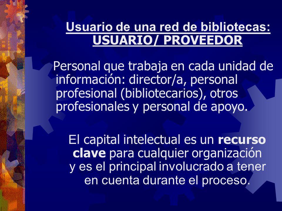 Usuario de una red de bibliotecas: USUARIO/ PROVEEDOR Personal que trabaja en cada unidad de información: director/a, personal profesional (bibliotecarios), otros profesionales y personal de apoyo.