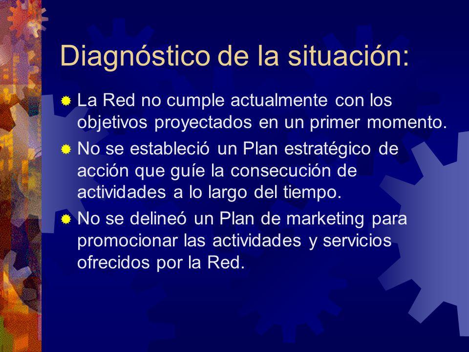 Diagnóstico de la situación: La Red no cumple actualmente con los objetivos proyectados en un primer momento. No se estableció un Plan estratégico de
