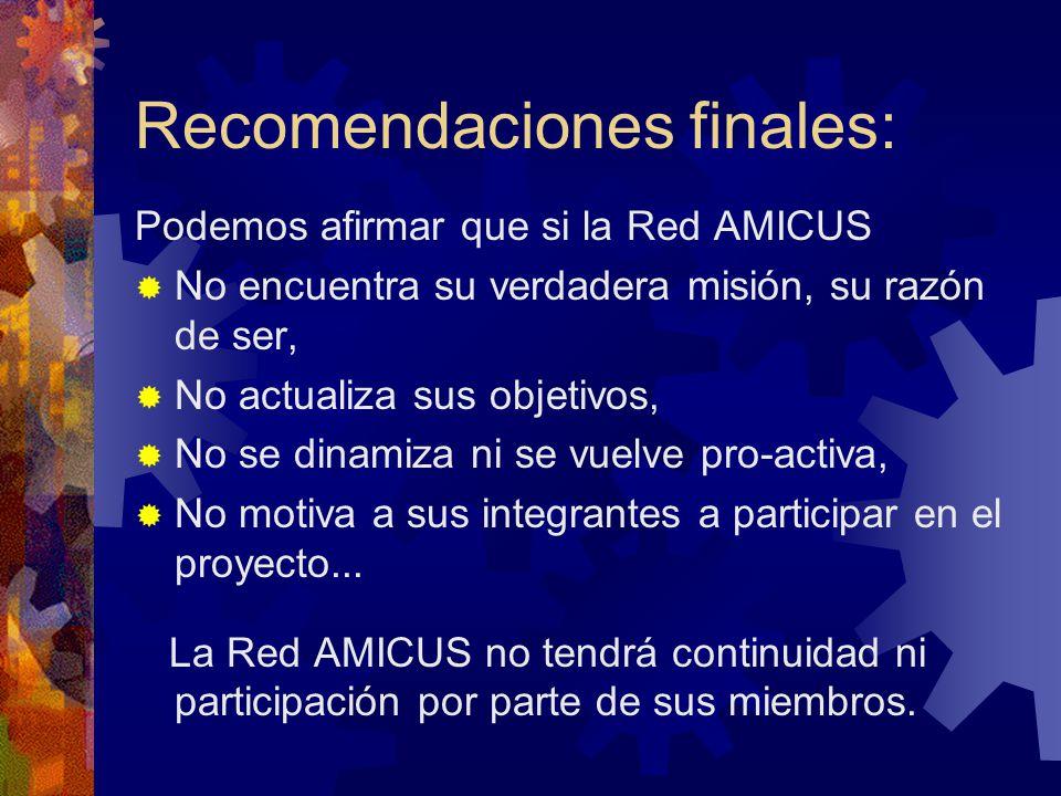 Podemos afirmar que si la Red AMICUS No encuentra su verdadera misión, su razón de ser, No actualiza sus objetivos, No se dinamiza ni se vuelve pro-ac