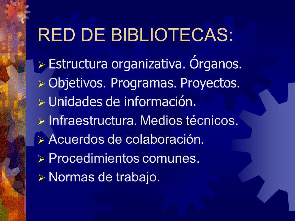 RED DE BIBLIOTECAS: Estructura organizativa. Órganos. Objetivos. Programas. Proyectos. Unidades de información. Infraestructura. Medios técnicos. Acue
