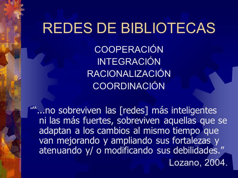 REDES DE BIBLIOTECAS COOPERACIÓN INTEGRACIÓN RACIONALIZACIÓN COORDINACIÓN...no sobreviven las [redes] más inteligentes ni las más fuertes, sobreviven
