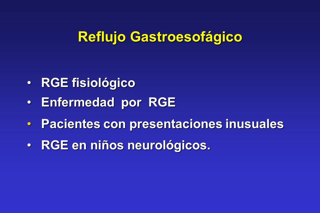 Reflujo Gastroesofágico RGE fisiológico RGE fisiológico Enfermedad por RGE Enfermedad por RGE Pacientes con presentaciones inusuales Pacientes con pre