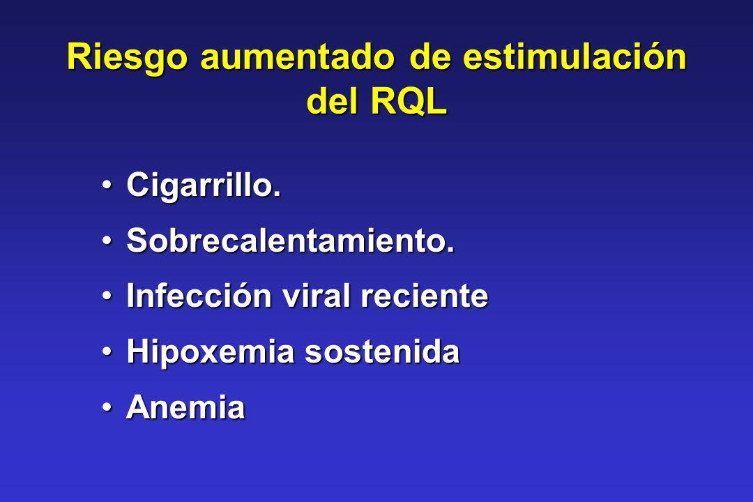 Riesgo aumentado de estimulación del RQL Cigarrillo.Cigarrillo. Sobrecalentamiento.Sobrecalentamiento. Infección viral recienteInfección viral recient