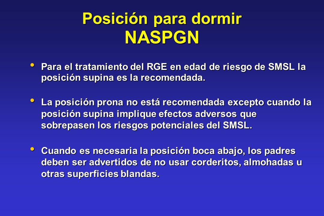 Posición para dormir NASPGN Para el tratamiento del RGE en edad de riesgo de SMSL la posición supina es la recomendada. Para el tratamiento del RGE en