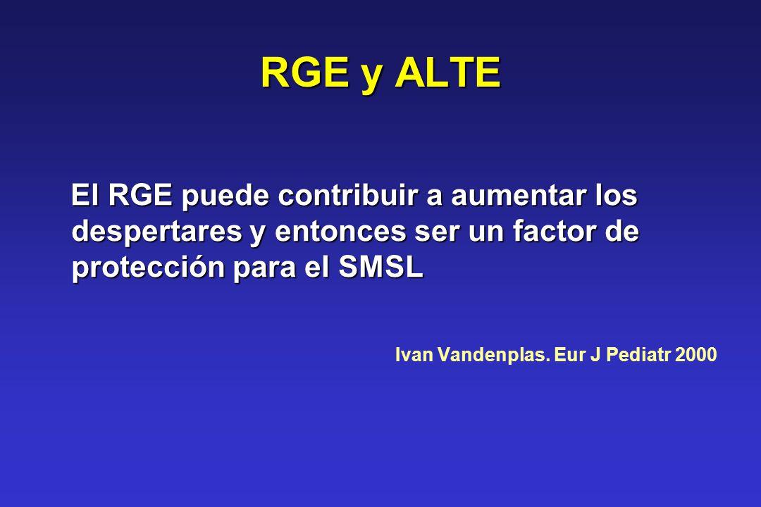 RGE y ALTE El RGE puede contribuir a aumentar los despertares y entonces ser un factor de protección para el SMSL El RGE puede contribuir a aumentar l