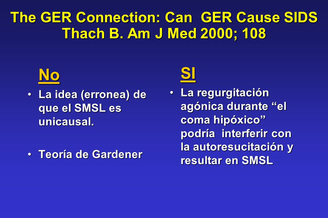 The GER Connection: Can GER Cause SIDS Thach B. Am J Med 2000; 108 No La idea (erronea) de que el SMSL es unicausal.La idea (erronea) de que el SMSL e