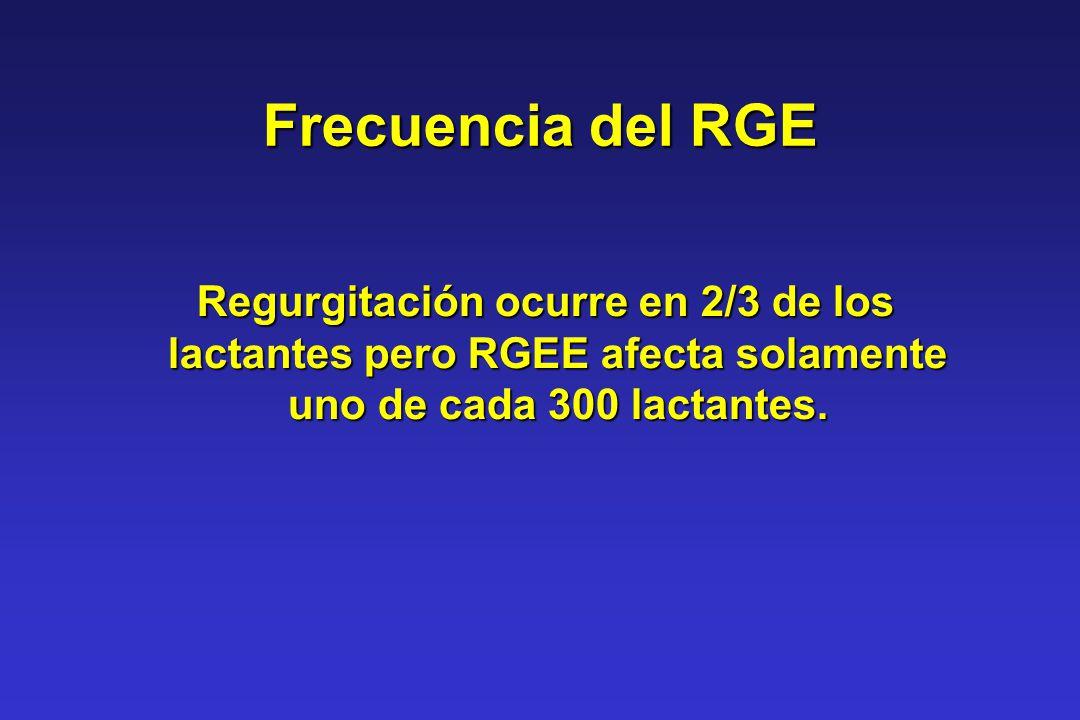 Frecuencia del RGE Regurgitación ocurre en 2/3 de los lactantes pero RGEE afecta solamente uno de cada 300 lactantes. Regurgitación ocurre en 2/3 de l