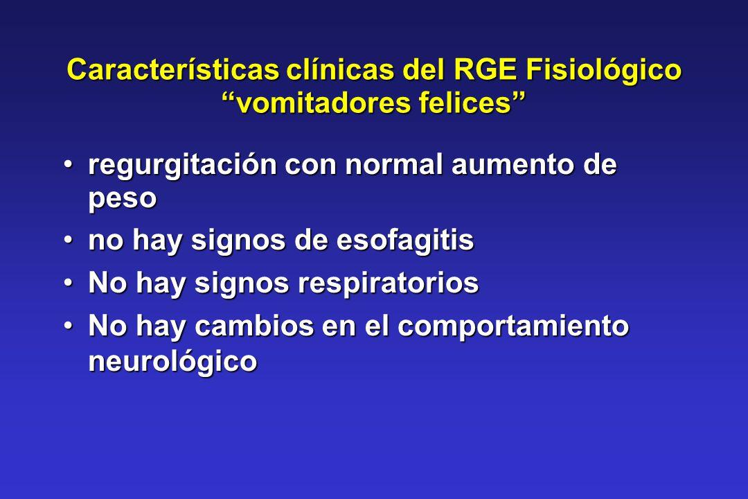 Características clínicas del RGE Fisiológico vomitadores felices regurgitación con normal aumento de pesoregurgitación con normal aumento de peso no h