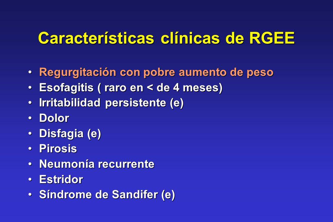 Características clínicas de RGEE Regurgitación con pobre aumento de pesoRegurgitación con pobre aumento de peso Esofagitis ( raro en < de 4 meses)Esof