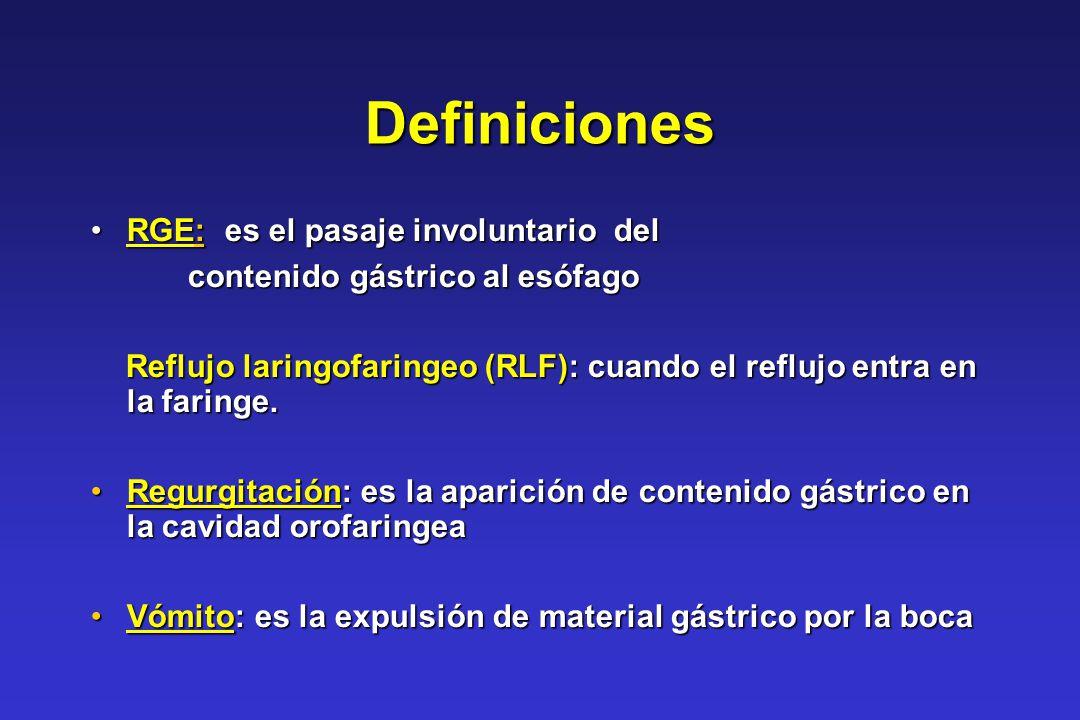 Definiciones RGE: es el pasaje involuntario delRGE: es el pasaje involuntario del contenido gástrico al esófago contenido gástrico al esófago Reflujo
