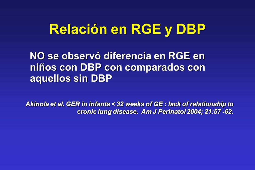 Relación en RGE y DBP NO se observó diferencia en RGE en niños con DBP con comparados con aquellos sin DBP NO se observó diferencia en RGE en niños co