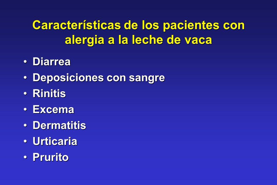 Características de los pacientes con alergia a la leche de vaca DiarreaDiarrea Deposiciones con sangreDeposiciones con sangre RinitisRinitis ExcemaExc