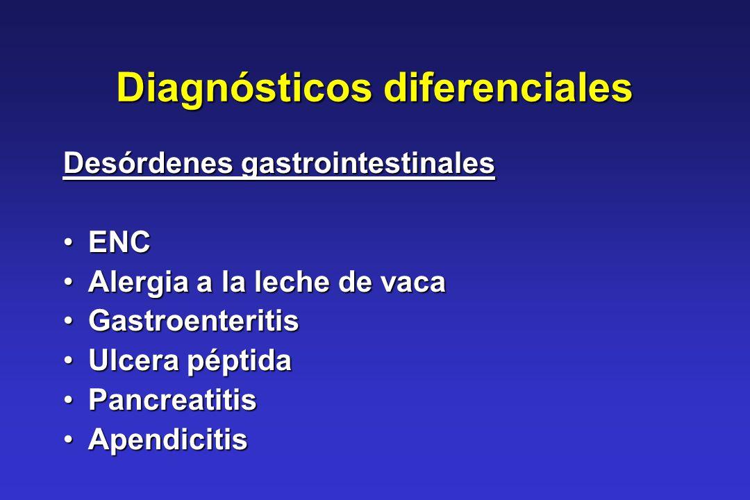 Diagnósticos diferenciales Desórdenes gastrointestinales ENCENC Alergia a la leche de vacaAlergia a la leche de vaca GastroenteritisGastroenteritis Ul